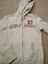 "Junior's ""87"" Aeropostale Off White Hoodie Sweatshirt 3/4 Zip Up Size Small"