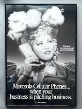 """Rare 1980's Official Motorola Cell Phone Celebrity 26' x 18"""" Poster  MAY WEST"""