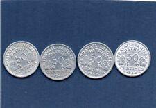 lot de 4  pieces de 50 centimes bazor 1942,1943,1944 B,1944c ALUMINIUM