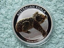 2012-P AUSTRALIAN SILVER KOALA Gilded/Gilted 1 oz BU