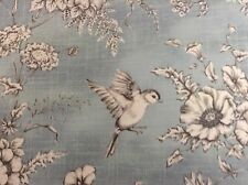 Floral Bird Toile Blue/Grey  Curtain/Craft Fabric