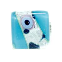 Cristal de Murano Anillo Luz Azul Plata Millefiori Cuadrado Venecia 1.5cm x
