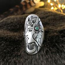 Fashion Star Moon Girl 925 Silver Wedding Rings Green Sapphire Ring Size 5-10