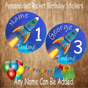 48 Boys Personalised Space Rocket Birthday Party Stickers with Age & Any Name