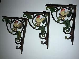 Set Of 3 Chicken Bird Cast Iron Wall Shelf Brackets Country Cottage Farmhouse