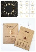 Horoscope zodiac star sign gold charm on chain pendant necklace with card
