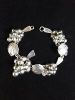 Vintage Sterling Silver Bracelet Taxco Grape Bunch Leaves Luster Mexico Repair