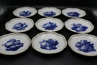 Schumann Bavaria Reticulated Blue Fruit Plate Lot - 9 Pieces