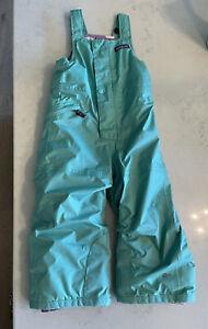 PATAGONIA Baby Toddler Girl Snow Pile Bibs Size 3T Turquoise