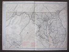 1922 LARGE MAP ~ MARYLAND & DELAWARE BALTIMORE ENVIRONS CITIES ~ RAND MCNALLY