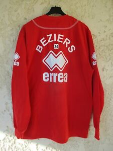 Maillot rugby A.S BEZIERS porté training shirt ERREA Nicollin manches longues XL