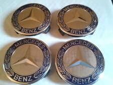 4 Logo Jante Mercedes Cache Moyeu Centre De Roue Bleu Foncé 75mm Emblème