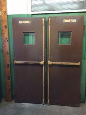 Pair of Steel Doors w/ Chicken Wire Glass 1-1/2 Hour Rated Fire Door 60x79-1/4