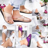 Women Flats Shoes Platform Toe Ring Slippers Sandals Comfy Lady Wedge Flip Flops