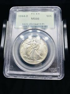 1944 D Walking Liberty Half Dollar PCGS MS66 OGH Old Holder
