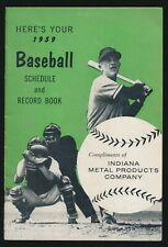 1959 Indiana Metal Products BASEBALL SCHEDULE & RECORD BOOK -Tough To Find