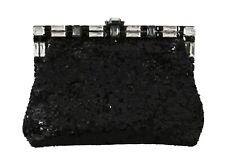 NEW DOLCE & GABBANA Bag Purse Black Crystal Sequined VANDA Shoulder Clutch Hand