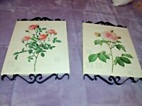 RARE Home Interiors Set BLACK IRON SCROLL PINK ROSE Wall PICTURES Plaque Canvas
