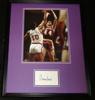 Jerry West Signed Framed 16x20 Photo Display JSA Lakers