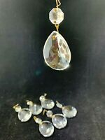 7 Crystal glass prism chandelier lamp parts pear almond shape Swedish tear drop