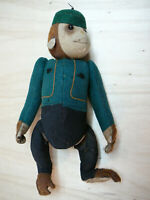 """Rare 1920's-30's SCHUCO MONKEY YES NO BELL HOP-Green Outfit 11"""" -Tall Works Well"""