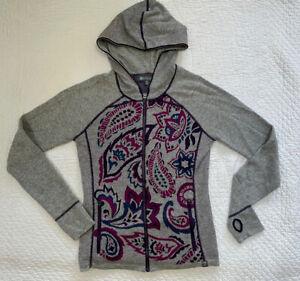 Title Nine wool sweater hoodie size S Small Full zip Merino EUC purple floral