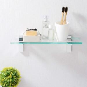 NEW CLEAR GLASS FLOATING WALL MOUNTED BATHROOM SHELF WITH CHROME BRACKETS