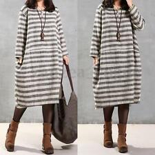 Women Casual Retro Evening Party Cotton Striped Tunic Top Boho Midi Long Dress