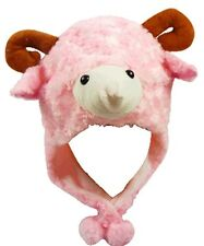PINK SHEEP GOAT LAMB ANIMAL CARTOON PLUSH FLUFFY HOODED HAT CAP BEANIE EARMUFF