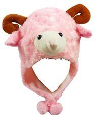 PINK SHEEP GOAT LAMB ANIMAL CARTOON PLUSH FLUFFY HOODED HAT CAP BEANIE EARMUFF
