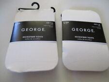 GEORGE Girls' MICROFIBER TIGHTS  Nylon/Spandex  TUSK   SET of 2   Size 7-10