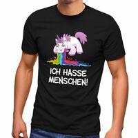 Herren T-Shirt Spruch Ich hasse Menschen kotzendes Einhorn Fun-Shirt Spruch