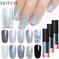 LILYCUTE 5ml Glitter Gel Polish Sequins Shimmer Soak Off UV Gel Varnish Nail Art