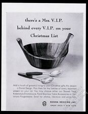 1956 Jens H Quistgaard Dansk Designs teak bowl spoon spork vintage print ad