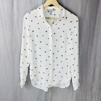H&M Ivory White Black Leaf Print SIZE 6 UK Long Sleeve Button Up Blouse WO1