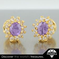 22k Yellow Gold Amethyst Screwback Earrings 6 grams