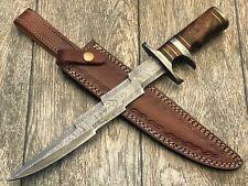 "ASH dh134 Damascus steel custom handmade hunting bowie knife 15"""