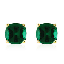 Certified 4.00Ct Emerald Solitaire Studs 14K Real Yellow Gold Gemstone Earring