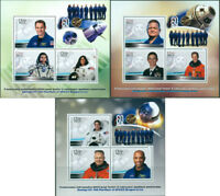 SPACE ASTRONAUTS BOEING SPACE X JOINT SPACE FLIGHT NASA 3 MNH STAMP SHEETS