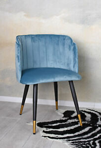 Armrest Chair Velvet Aquamarine Dining Upholstered Retro Armchair Kitchen