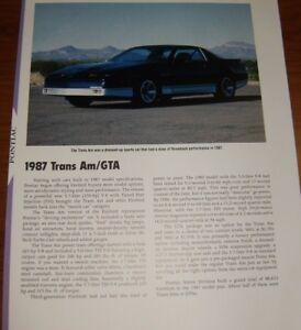 ★★1987 PONTIAC TRANS AM/GTA SPECS INFO PHOTO 87 FIREBIRD T/A TA★★