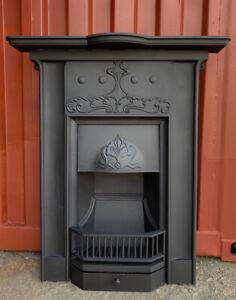 ART NOUVEAU Cast Iron Fireplace Original, Antique   🚚 DELIVERY Free Or   £35 UK