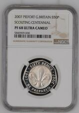 More details for 2007 piedfort scouting centennial silver proof 50p great britain ngc pf68uc