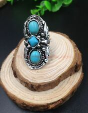 Retro style design Tibet silver Pattern Mosaic turquoise adjustable womens ring