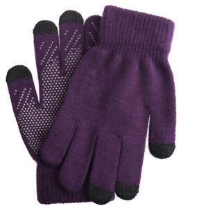 Women Touchscreen Warm Gloves Kintted Windproof Warmer Thicken Anti-Slip Mittens