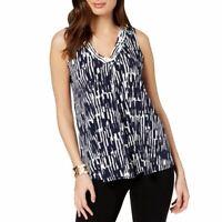 ALFANI NEW Women's Sleeveless Printed V-neck Blouse Shirt Top TEDO