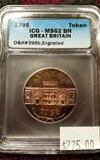1795 Great Britain Token. ICG-MS62 BN, D&H #396b, Engrailed