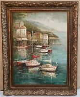 """Boat Mediterranean Landscape  Oil Painting Ornate Wood Picture Frame  69"""" Tall"""