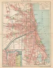 B6189 Chicago town plan - Carta geografica antica del 1901 - Old map
