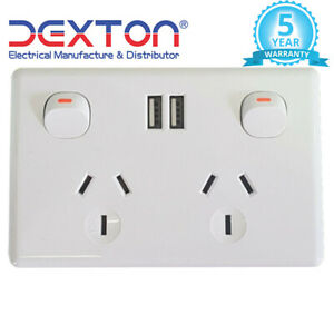 Double Power Point 10A 2x USB Outlets 2.1A Fast Charge White Free Delivery New